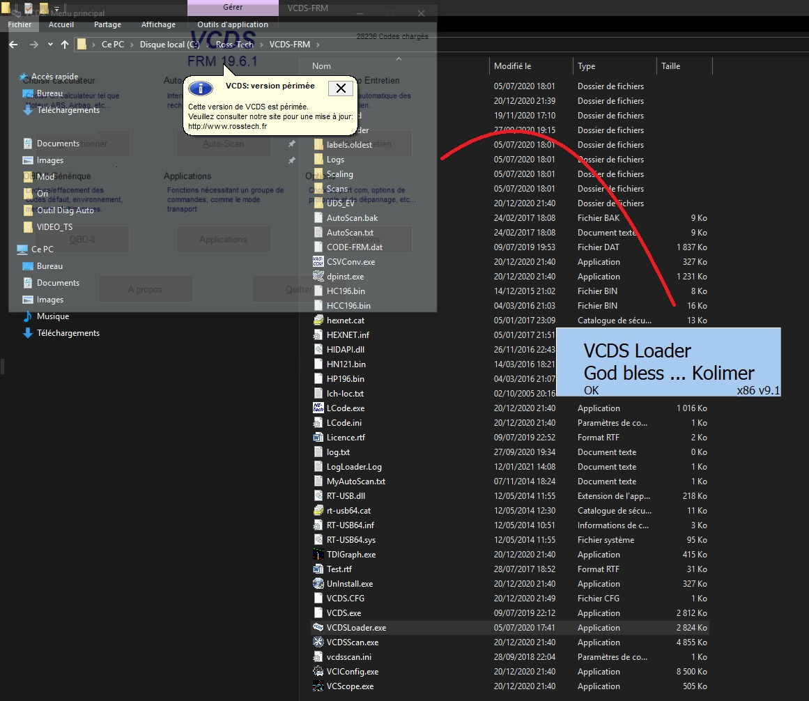 Problème lancement VCDS 19.6 God Bless Kolimer